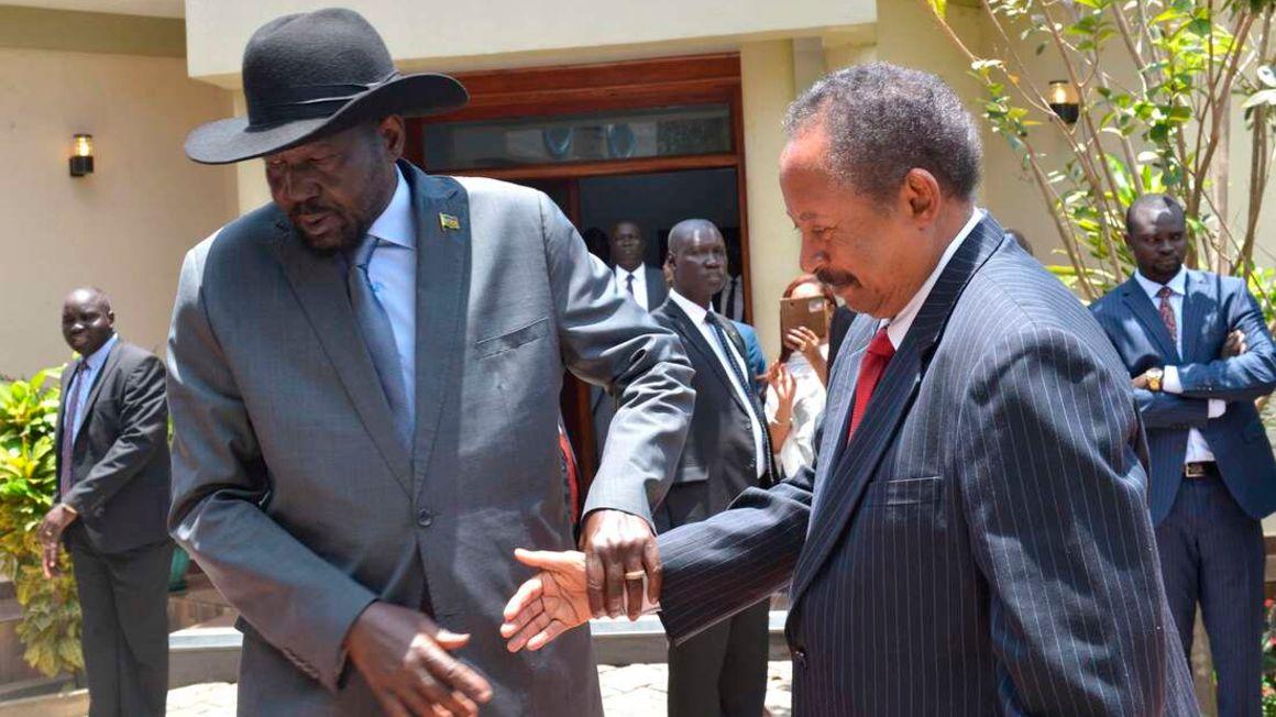 South Sudan's President Salva Kiir Mayarditand Sudan's Prime Minister Abdalla Hamdok.