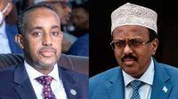 Somalia's Prime Minister Hussein Roble and President Mohamed Farmaajo.